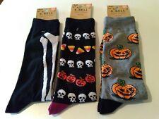 Mens Crew Socks K.Bell Halloween 3 pairs Novelty Pumpkin Skull sz 10 - 13