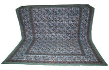 Cotton Indian King Cut Work Block Print Bed Cover Bedspreads Floral Bedding Art
