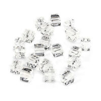 20pcs clear 6mm Faceted Square Cube Cut glass crystal Spacer beads
