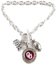 Oklahoma Sooners Multi Charm Love Football Red Silver Bracelet Jewelry OU