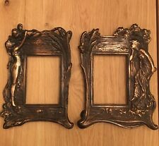 Vintage Art Deco Style 2 Picture Frames With Women And Flowers. Metal Frame
