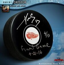 """PAVEL DATSYUK Signed Detroit Red Wings Puck Inscribed """"Final Game 4-21-16"""""""