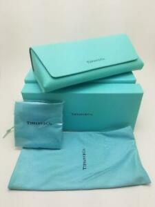 Tiffany & Co. Leather Flip Sunglasses / Eye Glasses Case - CLOTH + BOX - NEW
