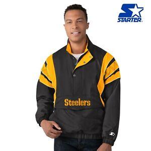 Pittsburgh Steelers Starter IMPACT THROWBACK Half-Zip Pull Over Jacket - Black