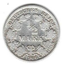Dt. Reich,1/2 Mark 1906 J, 2,5 g Silber fein,ss;Jäger Nr.16, Katalogwert:€ 6,00