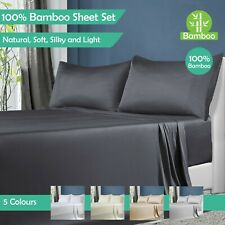 100% Natural Bamboo Sheet Sets Queen King Single Double Flat Fitted Pillow cases