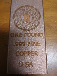 "COPPER BAR 1 POUND- UNIQUE ""BIT COIN"" DESIGN  -bullion"
