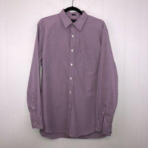 J Crew Men's Haberdashery 80s 2 Ply Dress Shirt Purple Plaid Size Large