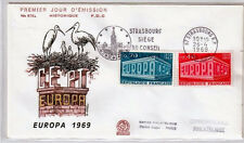FRANCE FDC - 684B 1598 1599 1 EUROPA STRASBOURG - flamme 26 Avril 1969