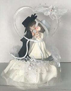 White Country Western Cowboy Lassoed to His Cowgirl Bride Glass Heart Cake Top