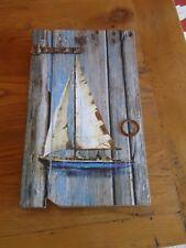 Sailing Yacht Key Box with key hooks - Rustic Wall Hanging / Nautical / Gift