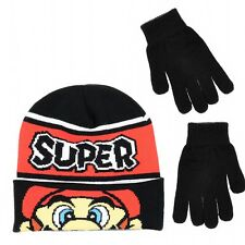 SUPER MARIO BROS NINTENDO MARIO KART Boys Knit Winter Beanie Hat &Gloves Set $24