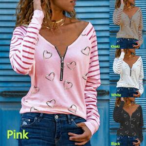 Womens Blouse Zipper Loose Tee Long Sleeve Ladies Pullover T Shirt Autumn Tops
