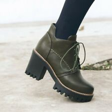 Women's Ankle Boots Block High Heels Round Toe Booties Casual Platform Shoes