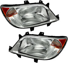 Headlight Assembly w/Bulb NEW Pair Set for 03-06 Dodge Sprinter (w/Fog Light)