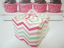 6 X PINK CHEVRON STRIPED CAKE BOX CANDY LOLLY BOX SHMICK PARTYCAKE BOXES