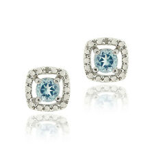 925 Silver 1.16ct Blue Topaz & Diamond Accent Square Stud Earrings
