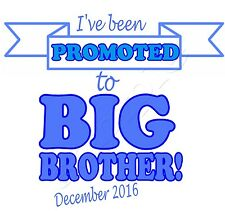 Iron on Transfer BIG BROTHER PROMOTED PERSONALISED WITH ANY DATE pregnant blue