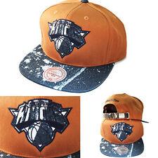 7ba404c8ed5 Mitchell   Ness NBA New York Knicks Mustard Strapback Hat Stained Denim Cap