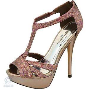Size AU 6.5 Multi Colour Glitter Sandal Open Toe Platform Pump Stiletto Shoes