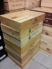 1 x HALF SIZE FLAT GENUINE FRENCH WOODEN WINE CRATE BOX HAMPER STORAGE PLANTER >
