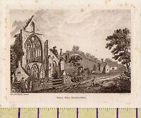 1784 Antico Georgiano Stampa ~ Tintern Abbey ~ Monmouthshire