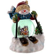 Prelit Musical Colour Changing Skiing Snowman Snow Globe Size 15x 13 Cm