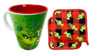 3 Piece The Grinch Who Stole Christmas Holiday Gift Set with Mug and Pot Holders
