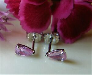 Designer Ohrringe Ohrstecker  925° Silber rosa Tropfen Zirkon sehr edel um 2000