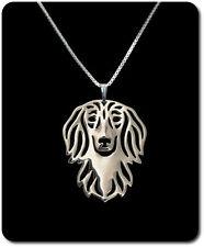 Halskette Set Kette + Anhänger Hund Metall Langhaardackel Dackel dachshund