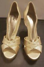 Fioni Night Gold Strappy Heels Peep-Toe Woman Size 8