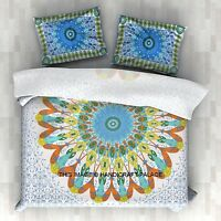 Feather Mandala White Duvet Cover Indian Twin Quilt Bohemian With 1 Pillow Cover