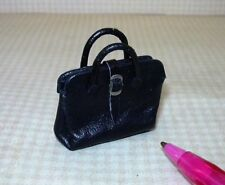 "Miniature ""Prestige Leather""  Black Leather Dr.'s Bag, Opens!! DOLLHOUSE 1:12"