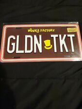 Willy Wonka Tin License Plate Golden Ticket GLDN TKT Gene Wilder Oompa Loompa