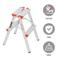 Multi Purpose 2 Step Ladder Foldable Step Stool Ladder Lightweight 330lbs Load