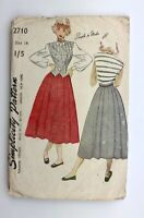 "1940's Pattern Simplicity 2710 Teenage Skirt and Waistcoat Bust 32"" Vintage"