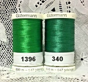 2 NEW Green GUTERMANN 100% polyester embroidery thread 547 yards Spools