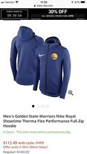 Golden State Warriors Nike Therma Flex Showtime Jacket Hoodie XL Royal Blue New
