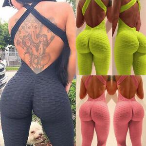 Womens Anti Cellulite Yoga Jumpsuit Push Up Rompers Gym Leggings Sports Pants UK