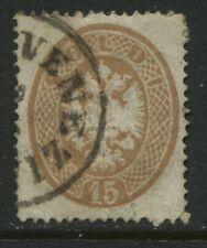 Austria Lombardy Venetia 1863 15 soldi yellow brown used