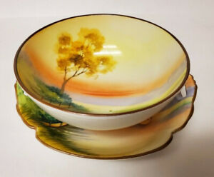 Vintage Hand Painted Nippon Plate Footed Bowl Set Orange Sunset Trees Clouds