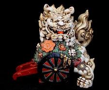 "10 1/2"" MARKED Kutani Yahata Kiln JAPANESE  KUTANI SHISHI  FOO DOG TEMPLE LION"