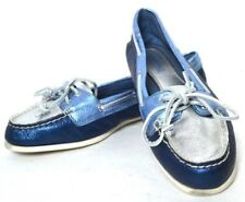 COMFORTABLE SPERRY TOP SIDER BLUE METALLIC GENUINE LEATHER FLAT SHOES SIZE  7.5