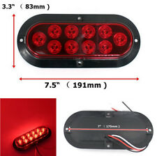Pair 10 LED Red Oval Brake Stop Tail Light for Car Truck Trailer RVs Waterproof
