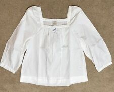 J Crew Factory Womens Peasant Top Blouse S Small White G7059 Shirt