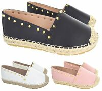 LADIES WOMENS STUDDED STUD PUMPS SLIP ON ESPADRILLES SUMMER SHOES SANDALS SIZE