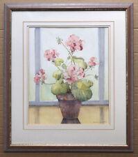 Original Irish Art Watercolour Floral Painting Geranium In Pot Oonagh Catchpole