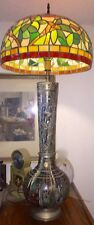 1950s Very Tall Indo-Persian Enamel On Brass/Silver Table Lamp & Shade L.A,Calif