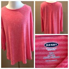 Old Navy Girls Size 10 12 Large Top Shirt Pink Striped Long Sleeves