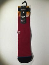 Stance Hoops Miami Heat Arena Logo NBA Socks Black Red Gold New Large 9-12 L